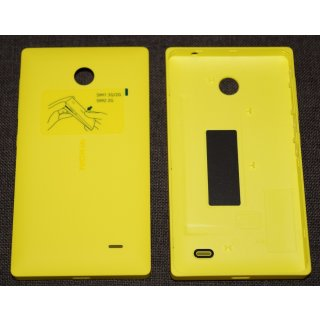 Nokia X / X+ Akkudeckel, Battery Cover, Backcover + Tasten, Gelb, yellow