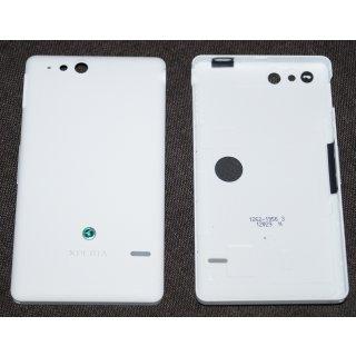 Sony Xperia Go ST27i Akkudeckel, Battery Cover + Einschalter Taste + Lautstärke Taste, Weiss, white